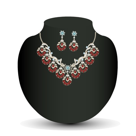 illustration of a Golden necklace and earrings female with red precious stones Vector
