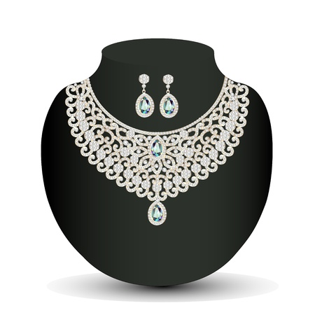 silver jewelry: illustration of a Golden necklace and earrings female with white precious stones