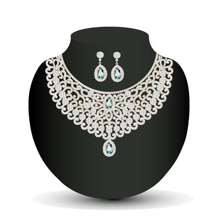 diamond jewelry: illustrazione di una collana d'oro e orecchini femminile con bianche pietre preziose