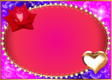 illustration background with heart and rose diamond Illustration