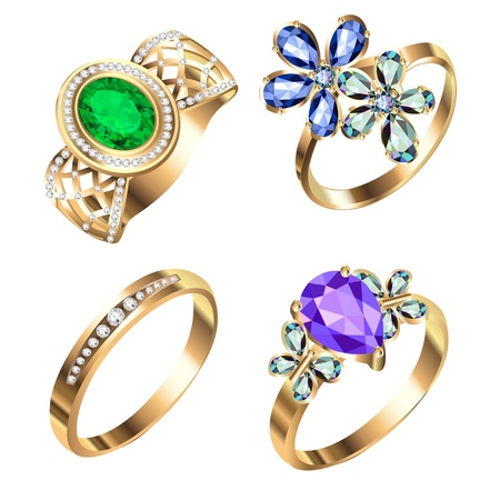 silver ring: illustration ring set with precious stones on white