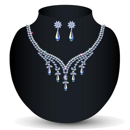 viso: collar de la ilustraci?n y de la boda de las mujeres pendientes de piedras preciosas Vectores