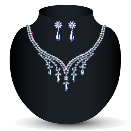 platinum style: illustration necklace and earrings womens wedding with precious stones