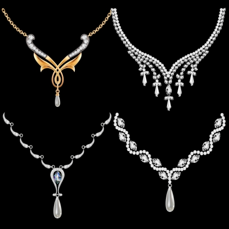 silver jewellery: illustration of a set of necklace women with precious stones Illustration