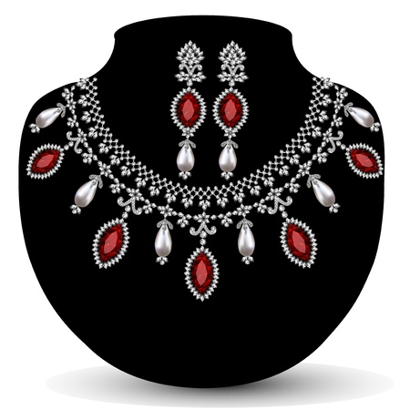 silver ring: illustration of a necklace with her wedding with red precious stones