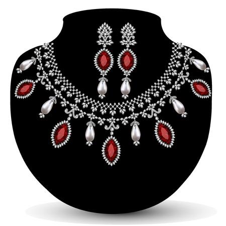 viso: ilustraci�n de un collar con su boda con piedras preciosas de color rojo