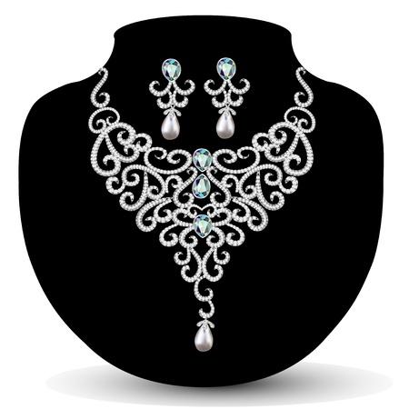 joyas de plata: collar de la ilustraci�n y los pendientes, de la boda de diamante para mujer Vectores