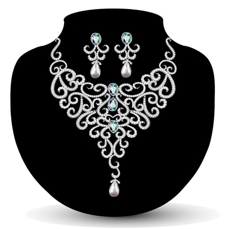 illustration necklace and earrings, wedding womens diamond