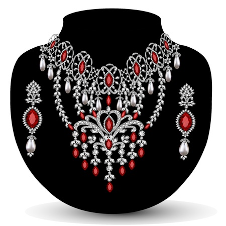 silver jewelry: illustration of a necklace with her wedding with red precious stones