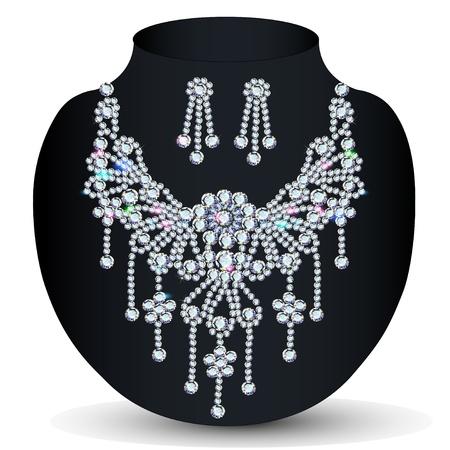 ilustración de un collar con su boda con piedras preciosas