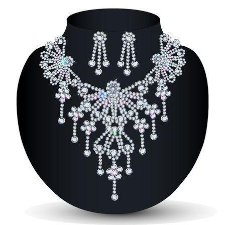 platinum style: illustration of a necklace with her wedding with precious stones