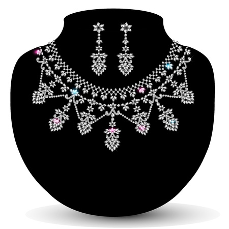 illustration of a necklace with her with precious stones Vector