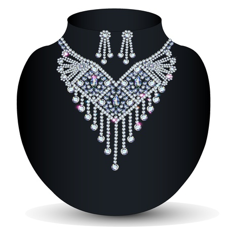 platinum wedding ring: illustration of a necklace with her wedding with  precious stones Illustration
