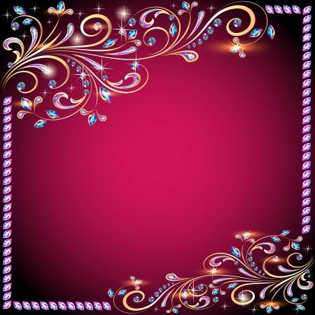 De achtergrond afbeelding met edelstenen, goud patroon en de sterren Stock Illustratie