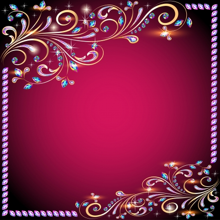 The background image with precious stones, gold pattern and the stars Vector