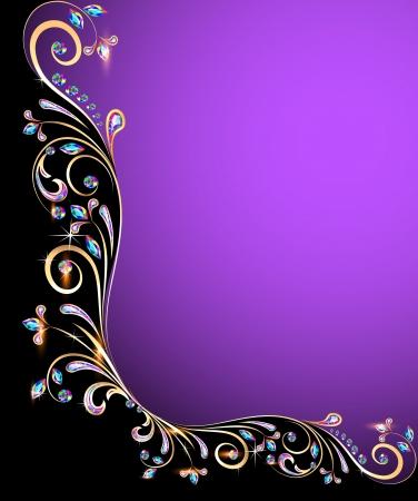 illustration background frame with jewels, golden ornament  Vettoriali