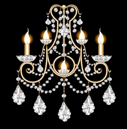 illustration included sconces with crystal pendants on black Vector