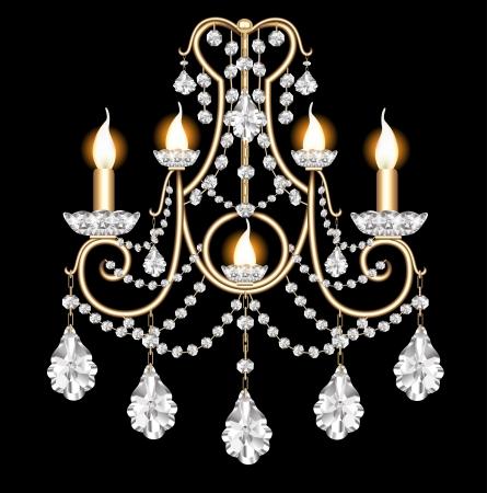 ceiling design: ilustraci�n incluye apliques con colgantes de cristal en negro Vectores