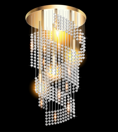 crystals: illustration of a modern chandelier with crystal pendants on the black Illustration