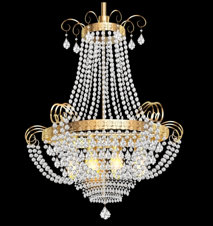 illustration of a chandelier with crystal pendants on the black Vettoriali