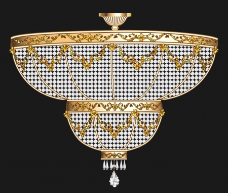 illustration antique chandelier with crystal pendants on the black
