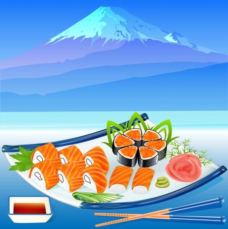 illustration of sushi rolls with greenery on the background of Fujiyama