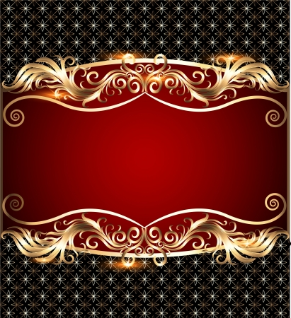 illustration  background with a strip with a gold vegetative ornament and a grid Stock Vector - 20920581
