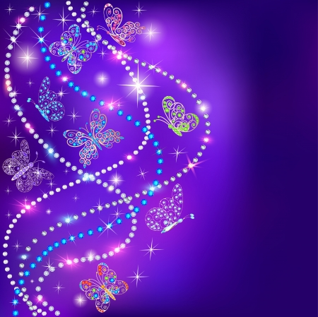 illustration of a blue background butterflies and stars with precious stones Vector