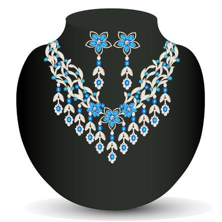 viso: ilustraci�n de un collar con su boda con piedras preciosas Vectores