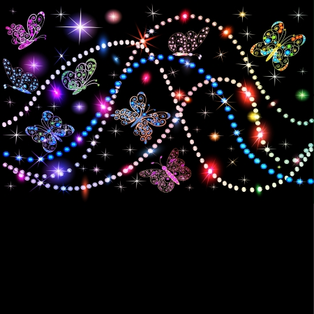 illustration background butterflies and stars with precious stones Stock Vector - 20920593