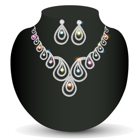 illustration silver necklace woman with precious stones Vector