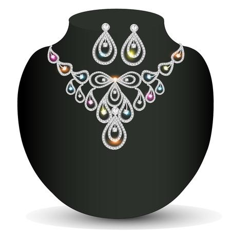 illustration brilliant silver necklace woman with precious stones Vector