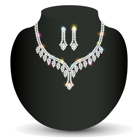 illustration wedding silver necklace woman with precious stones Vector