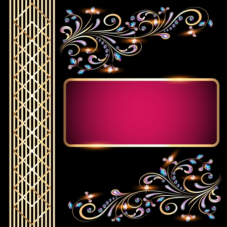 Background illustration with precious stones, gold pattern for invitation Stock Vector - 21025949