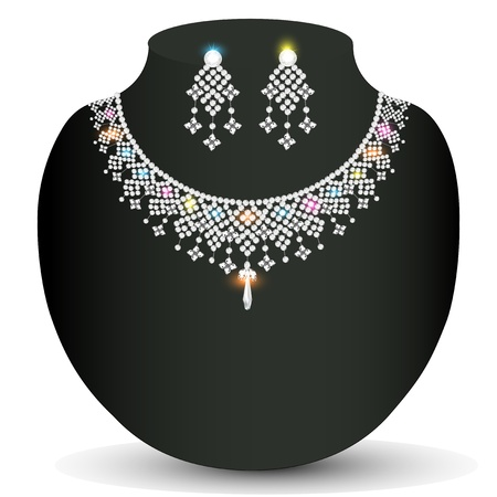 illustration of a  necklace and earrings female with white precious stones Vector