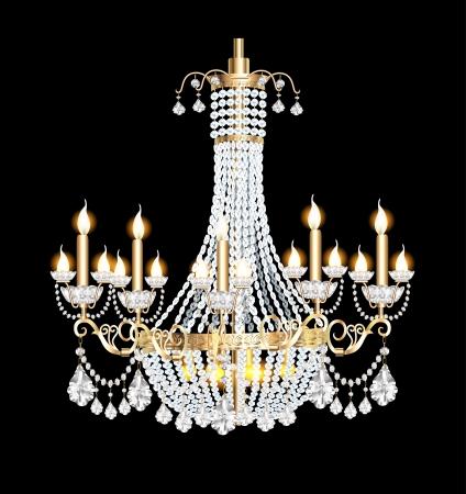 ceiling design: ilustraci�n de una l�mpara moderna con colgantes de cristal en el negro Vectores