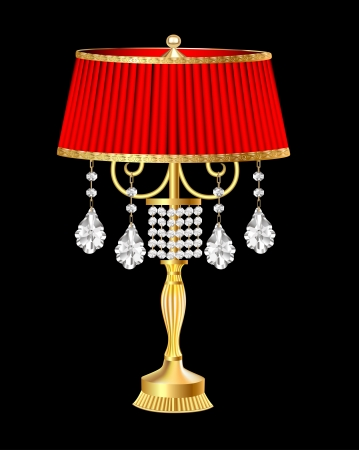 table lamp: illustration of a red table lamp with crystal pendants Illustration