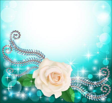 illustration background frame with precious stones and floral  Vector