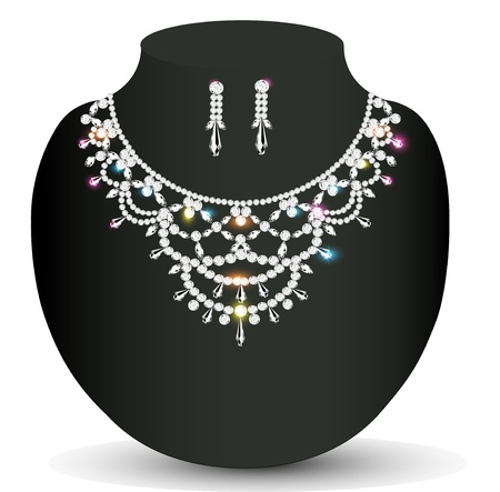 fashion jewelry: Illustration wedding necklace and earrings with precious stones women