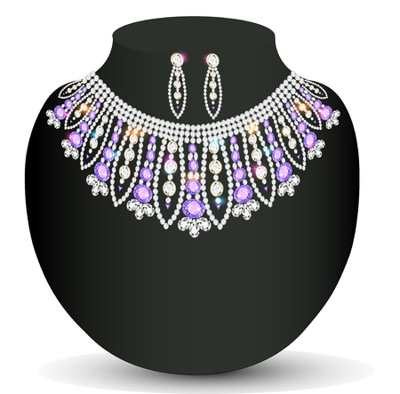 Illustration female necklace and earrings with lilac precious stones Vector