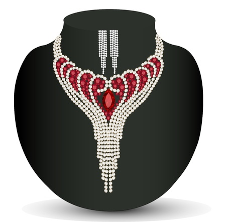 Illustration female necklace and earrings with red precious stones Vector