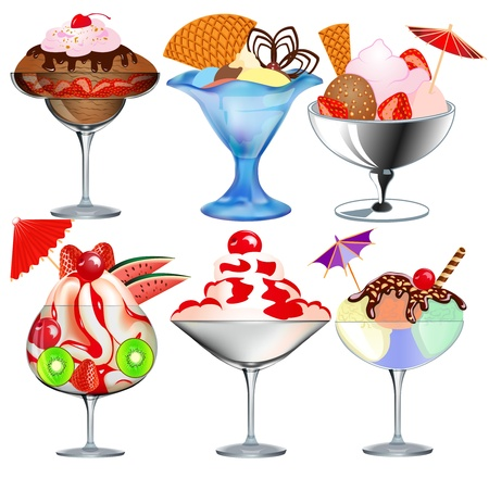 ice cream cartoon: Illustration of a set of fruit ice cream in a glass beaker