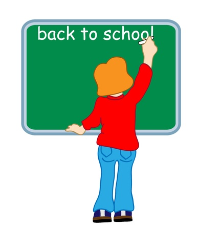illustration of a girl writing on a blackboard back to school Vector