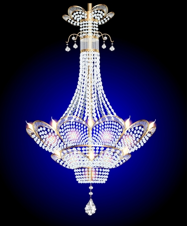 Illustration of a modern chandelier with crystal pendants on a blue Illustration