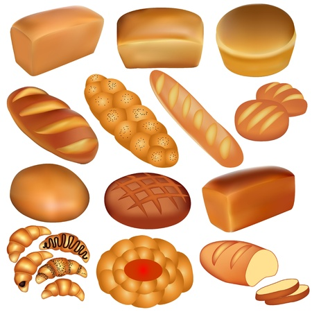 Illustration set of loaves of bread and a white