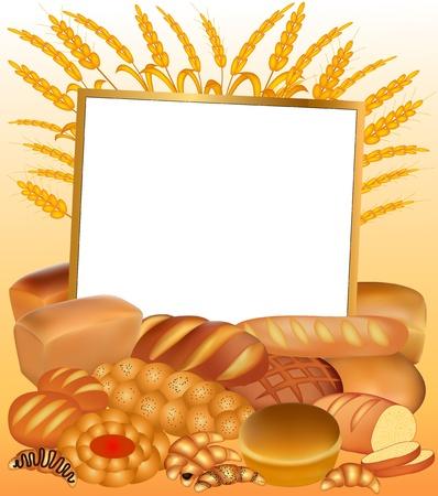 produits céréaliers: Illustration de fond avec un ensemble de pain