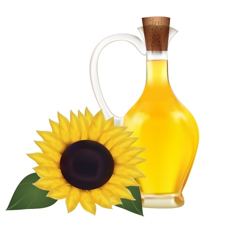 oil crops: Illustration of oil in a bottle and sunflower