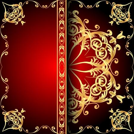 illustration background frame red with gold(en) pattern Stock Vector - 21390011