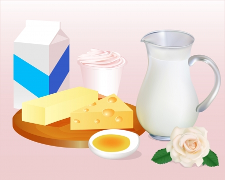 illustration background with milk butter cheese, eggs and yoghurt Vector
