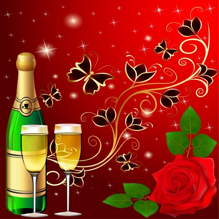 red wine glass: illustration festive background with butterflies and rose champagne